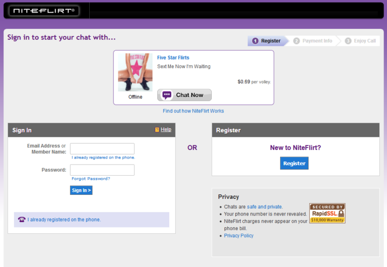 Screenshot Chat Registration